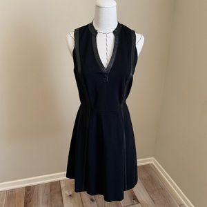 Rebecca Taylor Black Leather Trim Fit Flare Dress